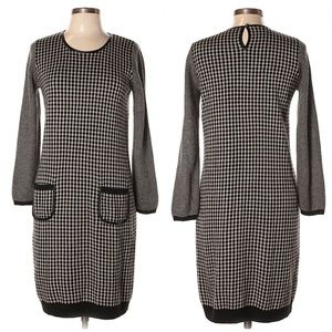 2/$25 Nine West Houndstooth Sweater Dress Keyhole